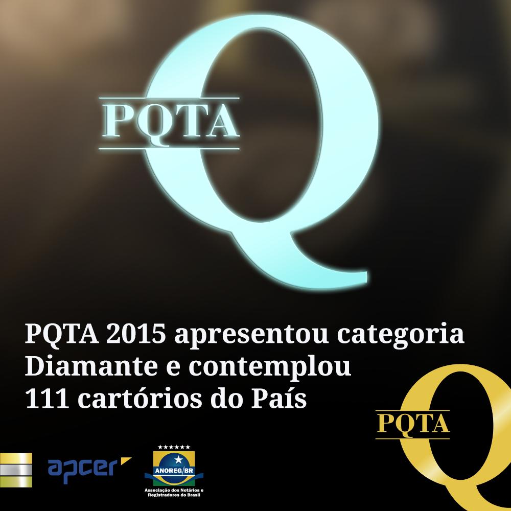 PQTA 2015 Apresentou Categoria Diamante E Contemplou 111 Cartórios Do País